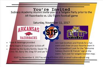 EVENT UPDATE: AR vs LSU Subiaco Gathering and Tailgate