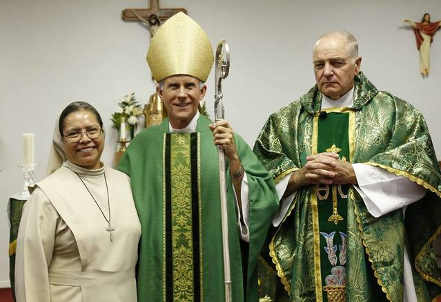 "Sister ""Conchita"", Bishop Strickland and Fr. Paul Key"
